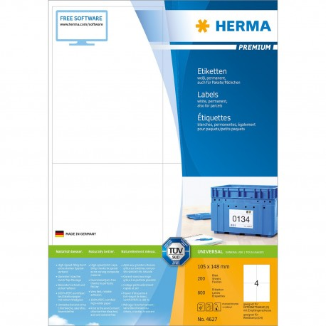 Herma 4627 Premium Labels A4 105mmx148mm 800's White