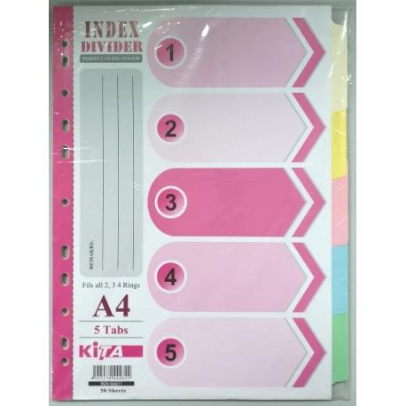 Kita S1207 Paper Color Index Divider A4 5Tabs