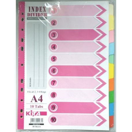 Kita S1208 Paper Color Index Divider A4 10Tabs