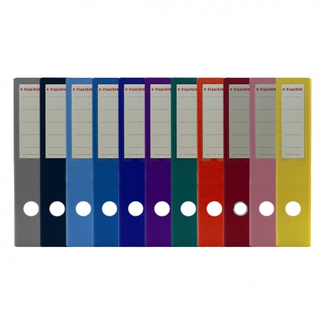"e-Flexible PVC Lever Arch File A4 3"" Black/Blue/Dark Blue/Light Blue/Red/Green/Yellow/Orange/Purple/Pink/Grey"