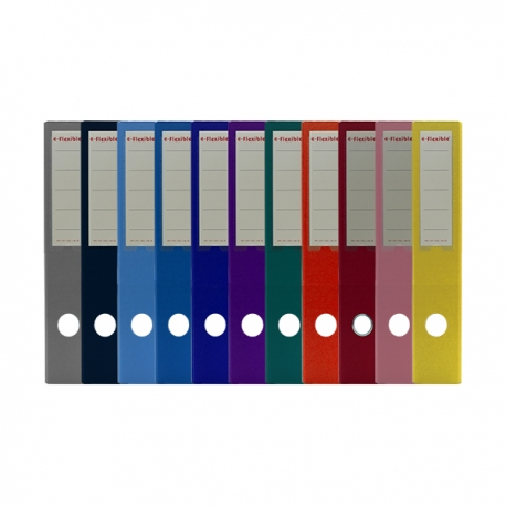 "e-Flexible PVC Lever Arch File A4 2"" Black/Blue/Dark Blue/Light Blue/Red/Green/Yellow/Orange/Purple/Pink/Grey"