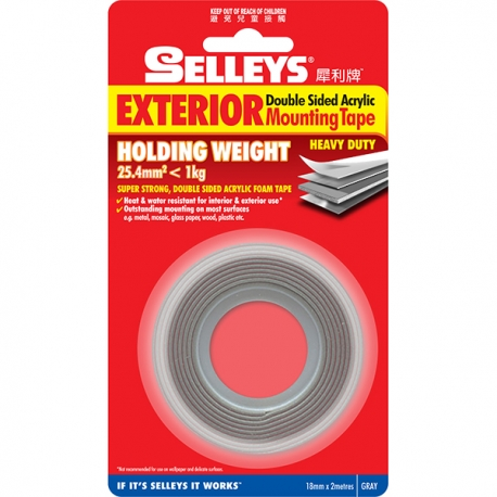 Selleys 302285 Mounting Tape Gray 18mm x 2m