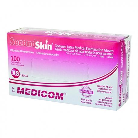 Medicom SecondSkin 1204B Latex Gloves Powder-Free Small 10Boxes