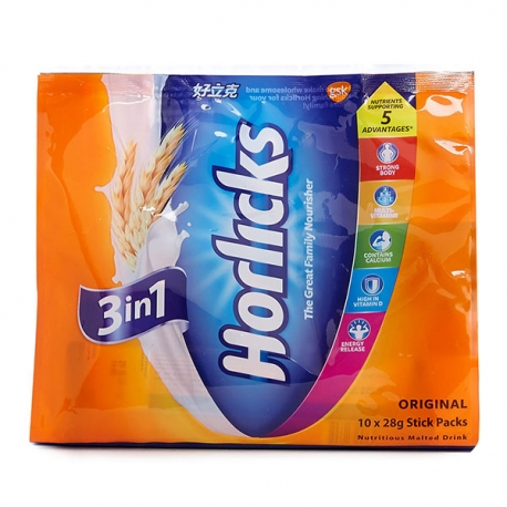 Horlicks Nutritious Malted Drink 3-in-1 Original 28g 8Packs