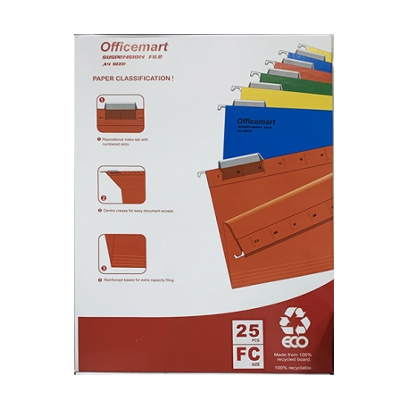 Officemart Hanging File F4 25pcs Grey/Blue/Green/Orange/Red/Yellow
