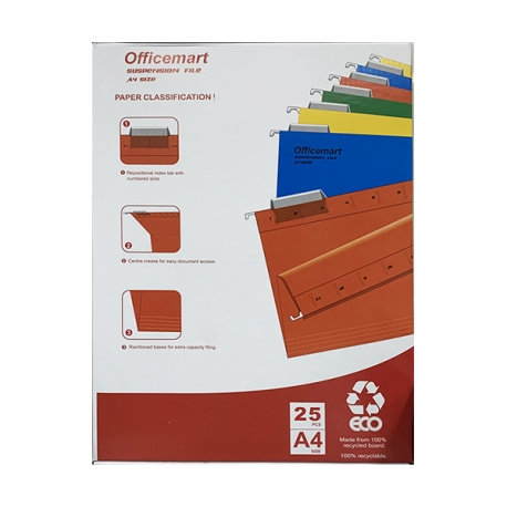 Officemart Hanging File A4 25pcs Grey/Blue/Green/Orange/Red/Yellow