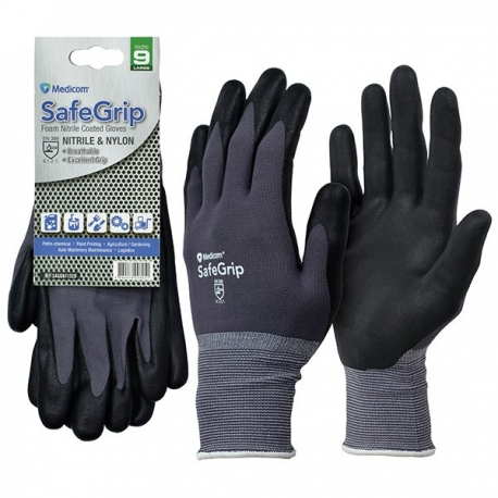 Medicom SafeGrip Foam Nitrile Coated Gloves (M,L,XL)