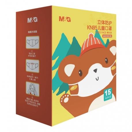 M&G KN95 四層立體兒童口罩 15個 獨立包裝 (口罩隨機顏色)