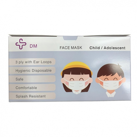 DM Child Respirator Mask Ear-Loop 3-Ply 50pcs (Non-Individual)