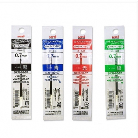 Uni SXR-80-07 Jetstream Ballpoint Multi Pen Refill 0.7 mm 10Pcs Black/Blue/Red