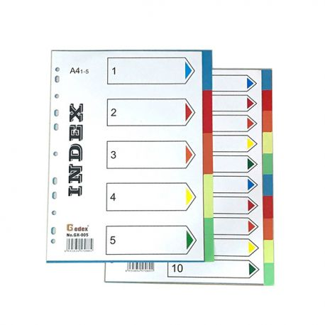 Godex GX-IN050 Color PVC Index Divders A4 5 Steps