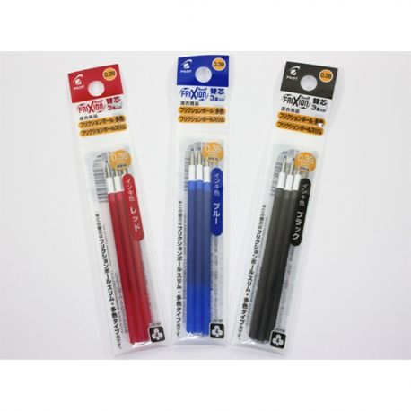 Pilot LFBTRF-30UF Frixion Ball Retractable Ball Pen Refill 0.38mm 3Pcs Black/Blue/Red