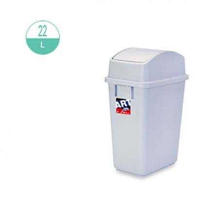 413 Rectangular w/Swing Cover Rubbish Bin 22Litre Grey