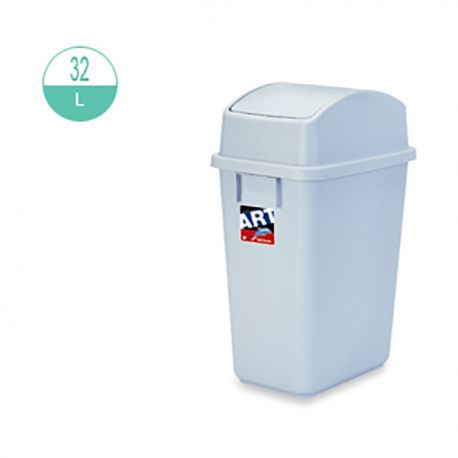 414 Rectangular w/Swing Cover Rubbish Bin 32Litre Grey
