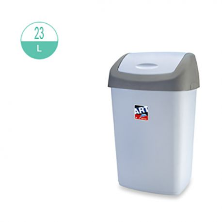 425 Rectangular w/Swing Top Cover Rubbish Bin 23Litre Grey