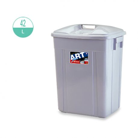 416 Rectangular w/Lid Rubbish Bin 42Litre Grey