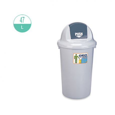 GEO 47 Round w/Push Lid Rubbish Bin 47Litre Grey