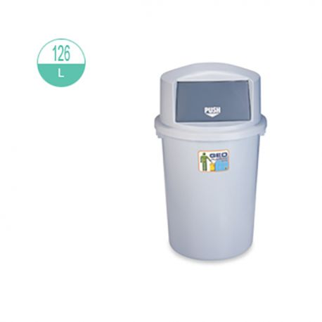 GEO 126 Round w/Push Lid Rubbish Bin 120Litre Grey