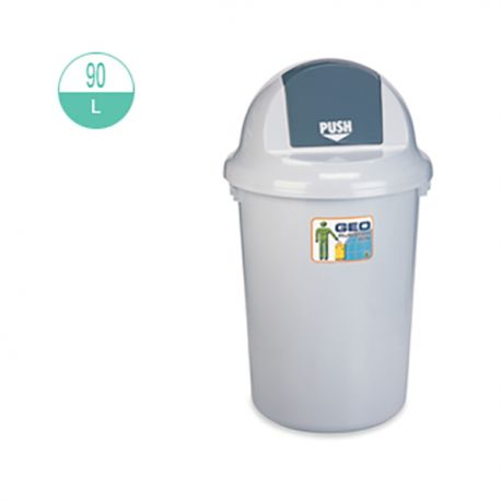 GEO 90 Round w/Push Lid Rubbish Bin 90Litre Grey