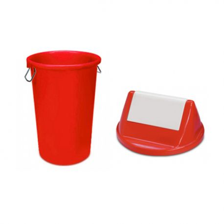 Red A 248/253 Rubbish Bin w/Swing Cover 50Litre Red