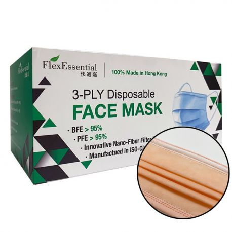 FlexEssential 3-ply Disposable Mask Level 1 100% Made in Hong Kong 50pcs/Box Honey Melon Orange