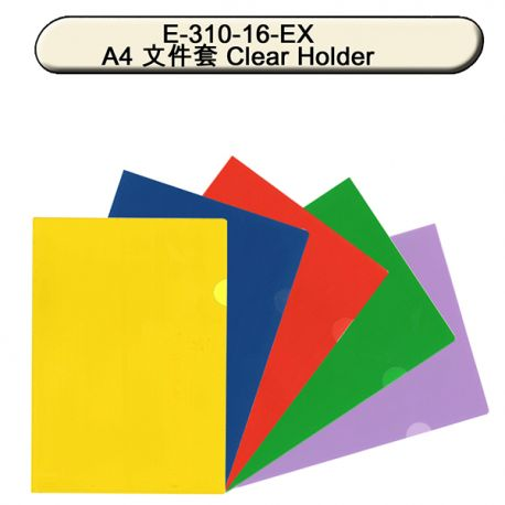 Data Bank E-310-16-EX Solid-colored Clear Folder A4 12pcs Blue,Green,Purple,Yellow,Red