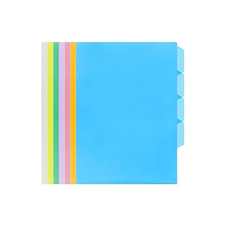 E-357 Plastic Folder F4 4-Layer Clear/Blue/Green/Orange/Purple/Red/Yellow
