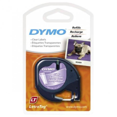 Dymo 12267 Letratag Plastic Tape 12mmx4M Clear
