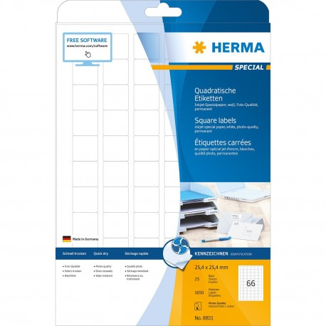 Herma 8831 Inkjet Labels A4 25.4mmx25.4mm 1650's White