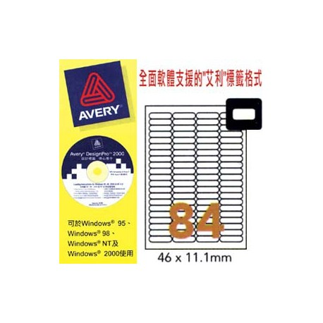 Avery L7656 Mini 35mm Slide Labels 46mmx11.1mm 840's White