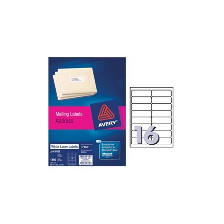 Avery L7162 Address Labels 99mmx34mm 1600's White