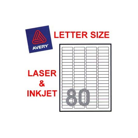 Avery 5267 Mailing Labels 12.7mmx44.5mm 2000's White