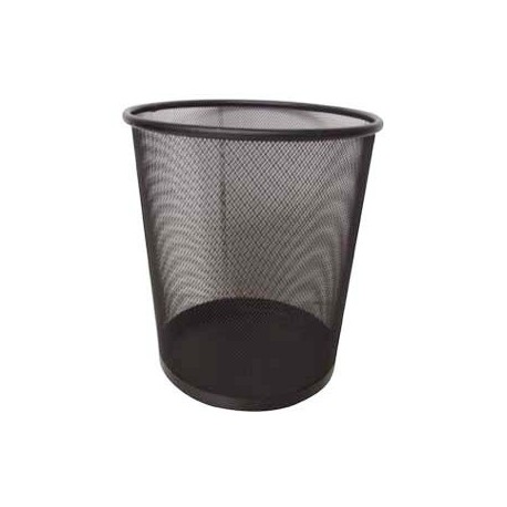 Metal Circular Rubbish Bin Large Black
