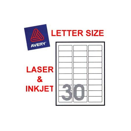 Avery 5160 Mailing Labels 25.4mmx66.7mm 3000's White