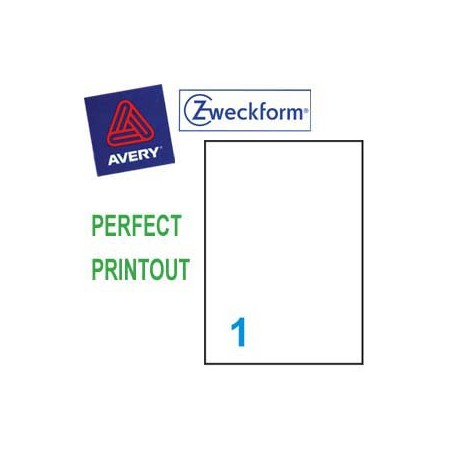 Zweckform 4777 Multipurpose Labels A4 210mmx297mm 20's Clear