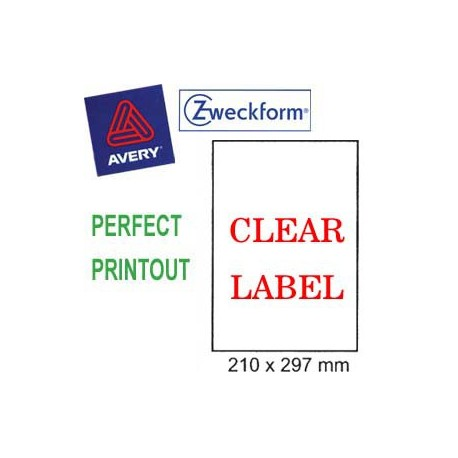 Zweckform 4723 Inkjet Labels A4 210mmx297mm 20's Clear