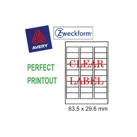 Zweckform 4721 Inkjet Labels A4 63.5mmx29.6mm 540's Clear