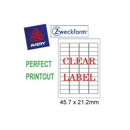 Zweckform 4720 Inkjet Labels A4 45.7mmx21.2mm 960's Clear
