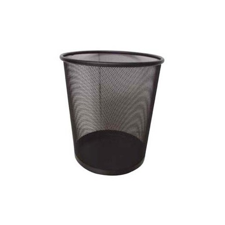 Metal Circular Rubbish Bin Small Black