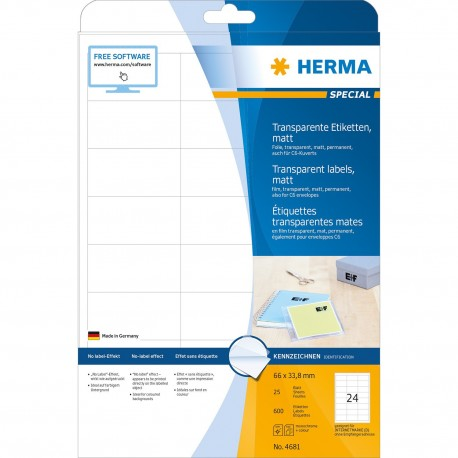Herma 4681 Premium Labels A4 66mmx33.8mm 600's Transparent Matt