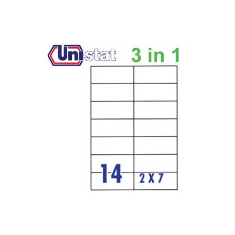 Unistat U4674 Multipurpose Labels A4 105mmx42.3mm 1400's White