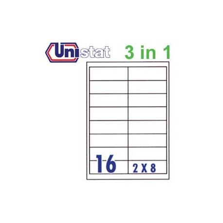 Unistat U4672 Multipurpose Labels A4 96.5mmx33.8mm 1600's White