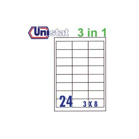 Unistat U4670 Multipurpose Labels A4 66mmx33.8mm 2400's White