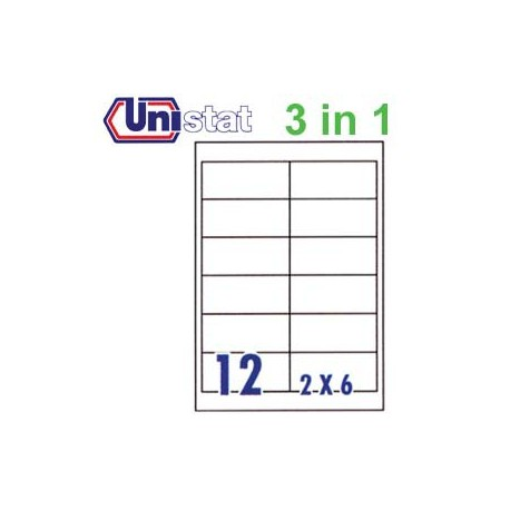 Unistat U4669 Multipurpose Labels A4 96.5mmx42.3mm 1200's White