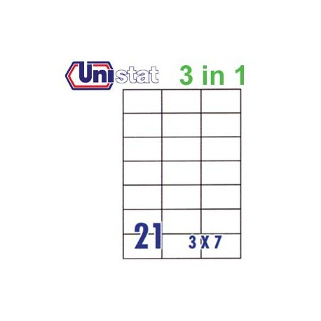 Unistat U4668 Multipurpose Labels A4 70mmx42.3mm 2100's White