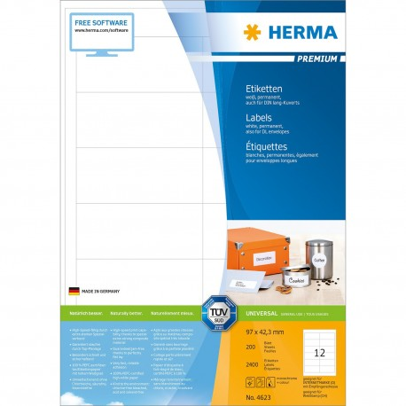 Herma 4623 Premium Labels A4 96.5mmx42.3mm 2400's White