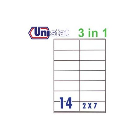 Unistat U4475 Multipurpose Labels A4 105mmx41mm 1400's White