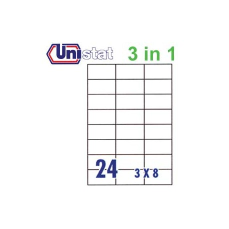 Unistat U4464 Multipurpose Labels A4 70mmx37mm 2400's White
