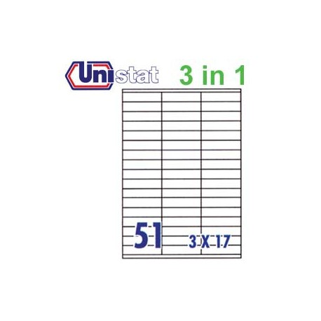 Unistat U4459 Multipurpose Labels A4 70mmx16.9mm 5100's White