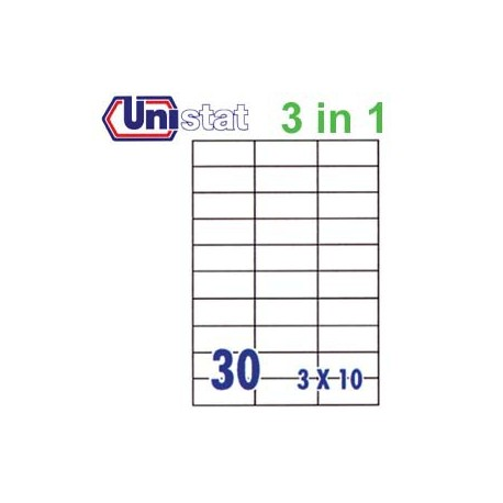Unistat U4456 Multipurpose Labels A4 70mmx29.7mm 3000's White